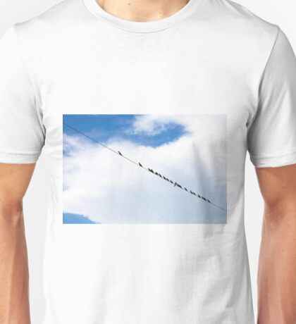 Birds hanging on a wire Unisex T-Shirt
