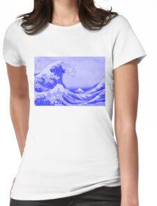 Cobalt Blue Porcelain Glaze Japanese Great Wave Womens Fitted T-Shirt