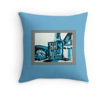 Blind Turquoise Still Life Throw Pillow