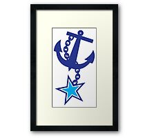 Midnight blue with blue anchor NAVY Framed Print