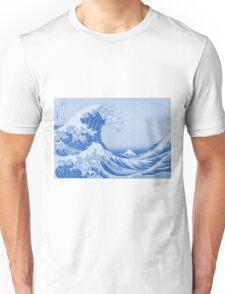 Cerulean Blue Porcelain Glaze Japanese Great Wave Unisex T-Shirt