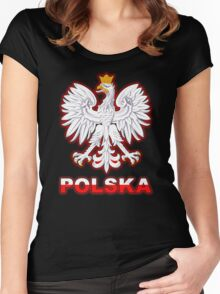 Polska - Polish Coat of Arms - White Eagle Women's Fitted Scoop T-Shirt