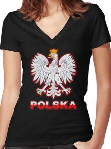 Polska - Polish Coat of Arms - White Eagle Women's Fitted V-Neck T-Shirt