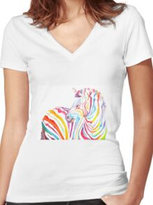 Psychedelic Zebra Women's Fitted V-Neck T-Shirt