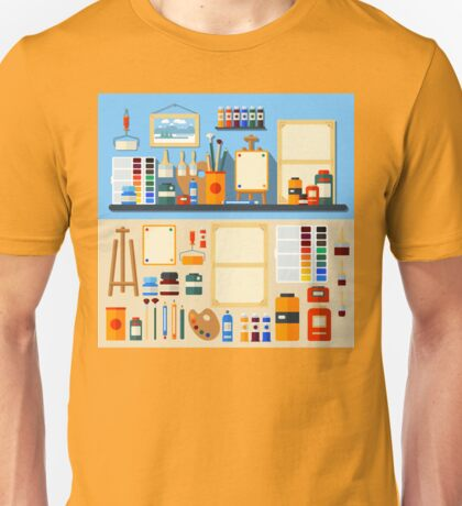 Studio of Art. Set of Tools and Materials for Creativity and Painting. Flat Style Unisex T-Shirt