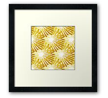 White background gold Daisies pattern Framed Print