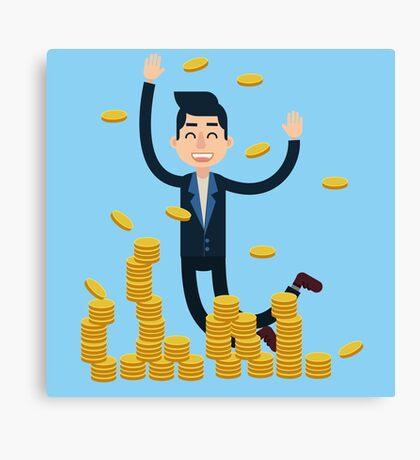 Successful Businessman Celebrates Big Money Deal Canvas Print