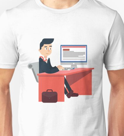 Businessman at Office on the Work Table with Computer Unisex T-Shirt