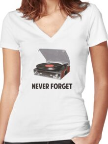Never Forget Vinyl Record Players Women's Fitted V-Neck T-Shirt