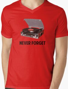 Never Forget Vinyl Record Players Mens V-Neck T-Shirt