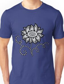 Abstract graphic flower in black and white Unisex T-Shirt