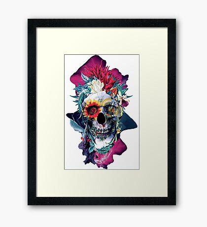Floral Skull Blue Framed Print