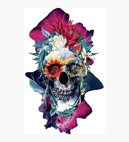 Floral Skull Blue Photographic Print