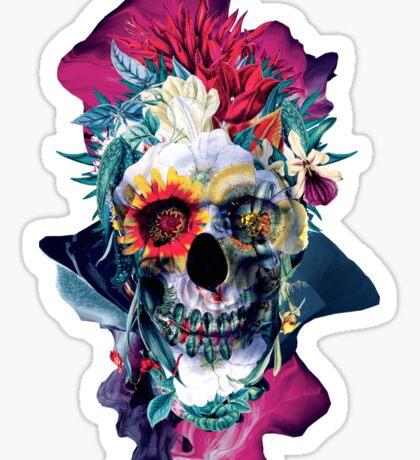 Floral Skull Blue Sticker