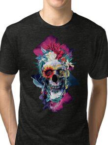 Floral Skull Blue Tri-blend T-Shirt