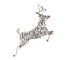 Santa's Reindeer Calligraphy Illustration by Laura Bell