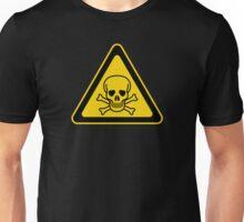 Poison Symbol Warning Sign - Yellow & Black - Triangular Unisex T-Shirt