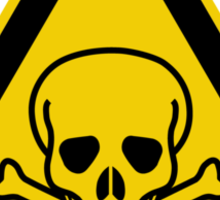 Poison Symbol Warning Sign - Yellow & Black - Triangular Sticker