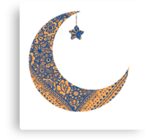 Moon and star Canvas Print