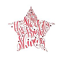 Oh Holy Night Christmas Calligraphy Star Illustration by Laura Bell
