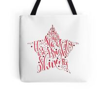 Oh Holy Night Christmas Calligraphy Star Illustration Tote Bag
