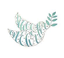Peace on Earth Calligraphy Dove Art Illustration Turtle Doves by Laura Bell
