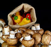 Mushrooms and peppers by Dipali S