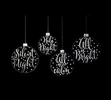 Silent Night Christmas Ornaments Typographic Calligraphy Illustration by Laura Bell