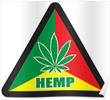 Caution Hemp Marijuana Sign Rastafarian Poster