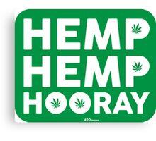 Hemp Hemp Hooray White Green Canvas Print
