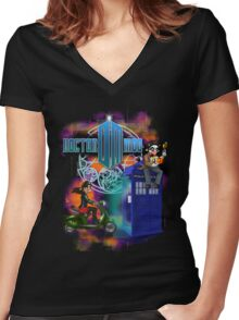 Doctor Moo and Clara Women's Fitted V-Neck T-Shirt
