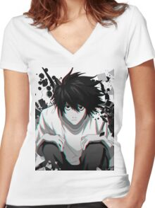 Death Note L Women's Fitted V-Neck T-Shirt
