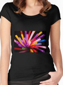 Colorful drinking straws Women's Fitted Scoop T-Shirt