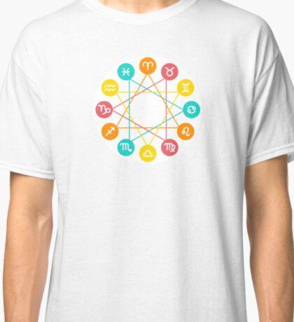Zodiac circle, twelve Zodiac signs set Classic T-Shirt