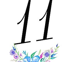 Number 11 with Watercolour Flowers by BbArtworx