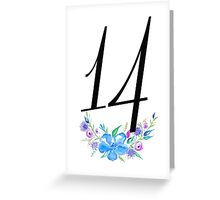 Number 14 with Watercolour Flowers Greeting Card