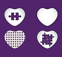 Love Heart Poster - Solid, Knitted & Puzzled Hearts by chunkymonkey