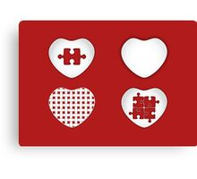 Love Heart Poster - Solid, Knitted & Puzzled Hearts Canvas Print