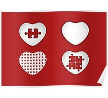 Love Heart Poster - Solid, Knitted & Puzzled Hearts Poster