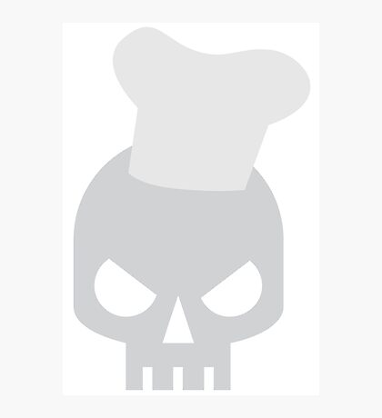 angry skull chef in a cooking hat Photographic Print