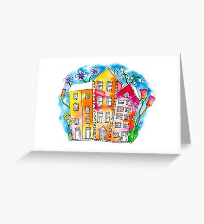Inky, Colourful Houses and Flowers Greeting Card