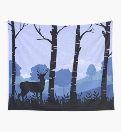 Roedeer Forest Collage on Paper - Blue Version, for nursery or wildlife souls Wall Tapestry