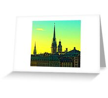 Sunset over Gamla Stan, Stockholm by Tim Constable Greeting Card