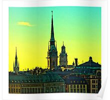 Sunset over Gamla Stan, Stockholm by Tim Constable Poster