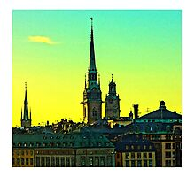 Sunset over Gamla Stan, Stockholm by Tim Constable Photographic Print