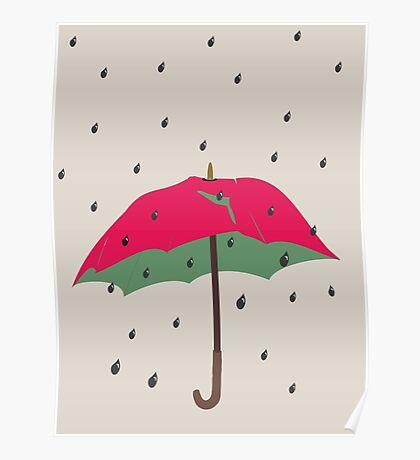 Watermelon Umbrella Poster