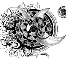Conception of time abstract mandala drawing by iSmairu