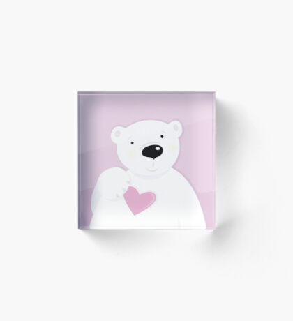 Original teddy bear edition : pink white Acrylic Block