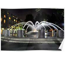 Charleston SC Fountain at night at the Water Front Park Poster