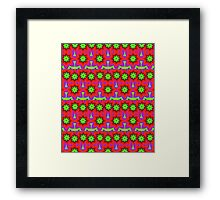 Cute Floral Patterns in red, green and purple Framed Print